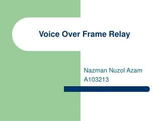 Voice Over Frame Relay