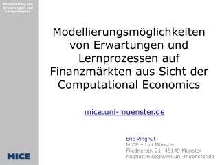 Eric Ringhut MICE – Uni Münster Fliednerstr. 21, 48149 Münster ringhut.mice@wiwi.uni-muenster.de