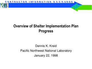 Overview of Shelter Implementation Plan Progress