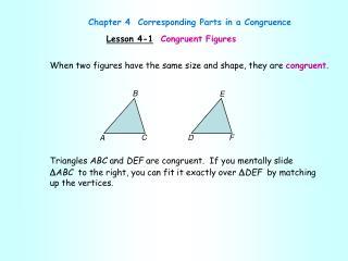 Lesson 4-1 Congruent Figures