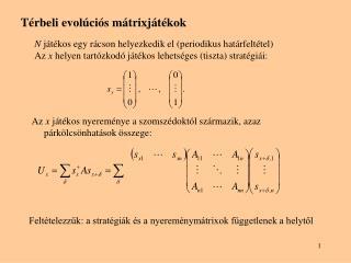 Térbeli evolúciós mátrixjátékok