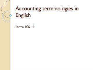 Accounting terminologies in English