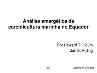 Análise emergética da carcinicultura marinha no Equador