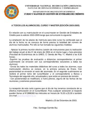 UNIVERSIDAD  NACIONAL  DE EDUCACI�N A DISTANCIA FACULTAD  DE CIENCIAS ECON�MICAS  Y EMPRESARIALES