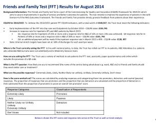 Friends and Family Test (FFT ) Results for August 2014