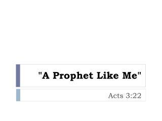"""A Prophet Like Me"""