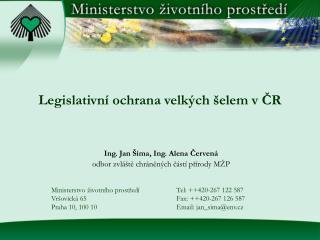 Legislativní ochrana velkých šelem v ČR
