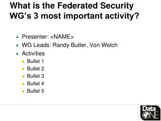 What is  the Federated Security WG's 3  most important activity?