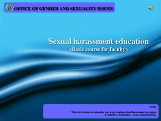 Sexual harassment education <Basic course for faculty>