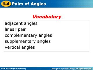 adjacent angles linear pair complementary angles supplementary angles vertical angles