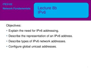 Lecture  8b IPv6