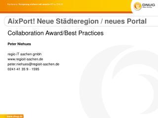 AixPort! Neue Städteregion / neues Portal