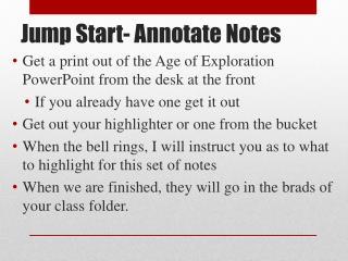 Jump Start- Annotate Notes