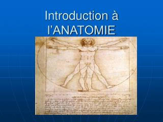 Introduction � l�ANATOMIE