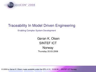 Traceability In Model Driven Engineering Enabling Complex System Development