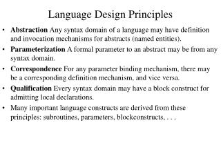 Language Design Principles