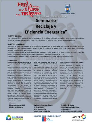 """Seminario Reciclaje  y Eficiencia Energética"""""""