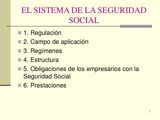 EL SISTEMA DE LA SEGURIDAD SOCIAL
