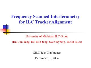 Frequency Scanned Interferometry for ILC Tracker Alignment