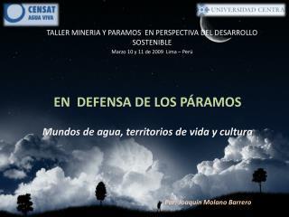TALLER MINERIA Y PARAMOS  EN PERSPECTIVA DEL DESARROLLO SOSTENIBLE
