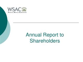 Annual Report to Shareholders