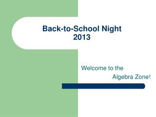Back-to-School Night 2013