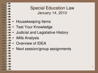 Special Education Law  January 14, 2010