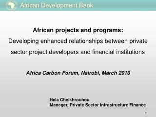 African projects and programs:  Developing enhanced relationships between private sector project developers and financia