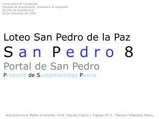 Arquitectura & Medio Ambiente / Prof. Claudia Castro / Trabajo Nº 3 / Marcelo Villalobos Pezos