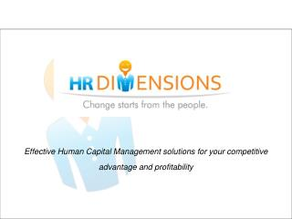 Effective Human Capital Management solutions for your competitive advantage and profitability