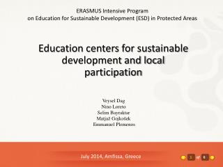 Education centers for sustainable development and local participation