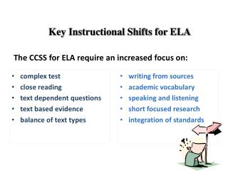 Key Instructional Shifts for ELA