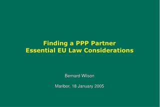 Finding a PPP Partner Essential EU Law Considerations