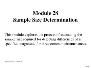 Module 28  Sample Size Determination