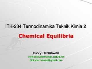 ITK-234 Termodinamika Teknik Kimia 2