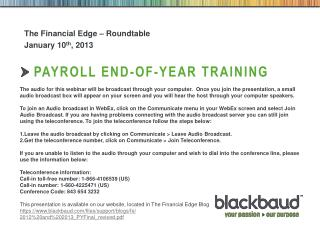 Payroll end-of-year training