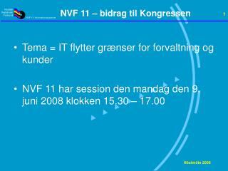 NVF 11 – bidrag til Kongressen