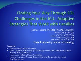 Judith A. Adams, RN, MSN, FNP, PhD Candidate Ruth A. Anderson, RN, PhD Anthony N.  Galanos , MD