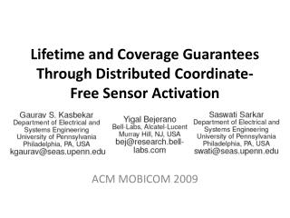 Lifetime and Coverage Guarantees Through Distributed Coordinate-Free Sensor Activation