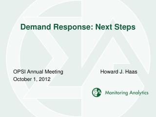 Demand Response: Next Steps