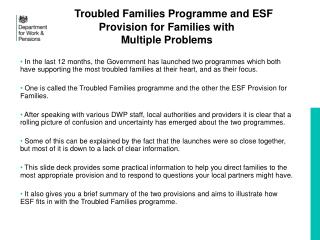 Troubled Families Programme and ESF Provision for Families with  Multiple Problems