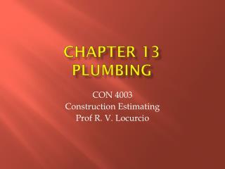 Chapter 13 Plumbing