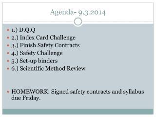 Agenda- 9.3.2014