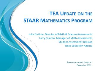 TEA Update on the  STAAR Mathematics Program