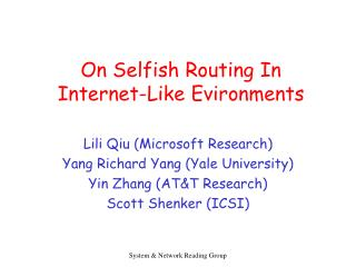 On Selfish Routing In Internet-Like Evironments