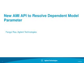 New AMI API to Resolve Dependent Model Parameter
