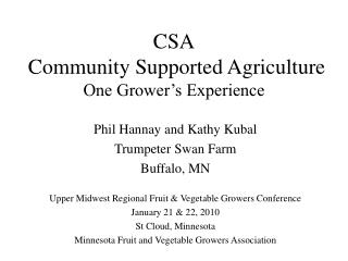 CSA  Community Supported Agriculture One Grower s Experience