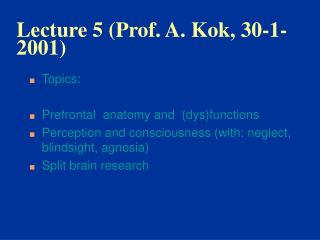 Lecture 5 (Prof. A. Kok, 30-1-2001)