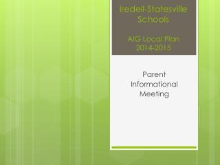 Iredell-Statesville Schools AIG Local Plan 2014-2015