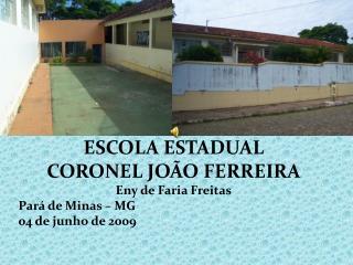 ESCOLA ESTADUAL  CORONEL JOÃO FERREIRA Eny  de Faria Freitas Pará de Minas – MG